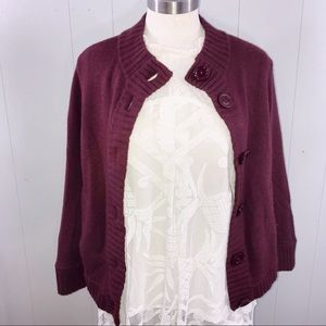 Talbots Burgandy plum button up cardigan sweater